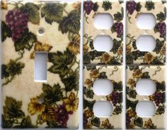 Tuscan Wine Grapevine Grape Vineyard Light Switch Plate Set 1&4 Wall Home Decor Bedroom Bathroom Kitchen