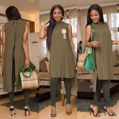 2018 Women Sleeveless Long Chiffon Coat Casual Party Club Stylish Dress with Collar and Shades of Green Street Fashion - Lynn Fashion GH African Print Fashion, Africa Fashion, African Fashion Dresses, African Wear, African Dress, Chic Outfits, Fashion Outfits, Fashion Fashion, Mode Kimono