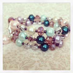 FREE SHIPPING Lovely Glass Pearl & Faceted Glass by PrairieDustInc, $35.00 Mom Jewelry, Jewelry Shop, Faceted Glass, Glass Beads, Dark Purple, Beaded Bracelets, Mint, Turquoise, Free Shipping