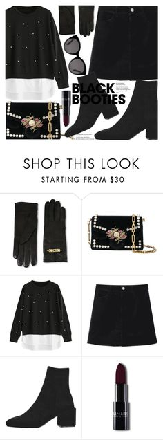 """Back to Basics: Black Booties"" by fattie-zara ❤ liked on Polyvore featuring Moschino, Proenza Schouler and Gucci"