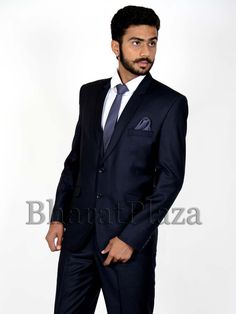 Alluring navy blue color notch lapel blazer invented on polyester having molded buttons. Item code: TSP703B http://www.bharatplaza.com/new-arrivals/mens-suits.html