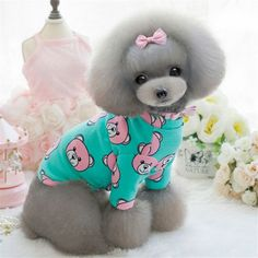 SWEETPETCO Chihuahua Dog Clothes Cute Printed Dog T Shirt Long Sleeves Autumn/Spring Puppy Clothes Pet Dog Undershirt Pink Blue