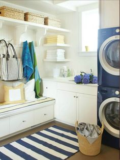 Coastal style laundry room. Just needs a large counter on the other side for folding!