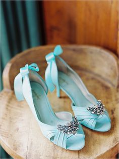 You can definitely check off something blue with these Cinderella heels. #Wedding #SomethingBlue