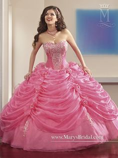 Hot Pink  Strapless organza quinceanera ball gown with sweetheart neckline, detachable spaghetti straps, bead embellishment, embroidery, ruching on the top layer of skirt, flower accents, zipper back, and bolero...♡
