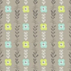 Floral Stripe Lt Grey -233Fabrics