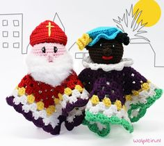 Crochet pattern Cuddle cloth Sint and Piet A free Dutch crochet . : Crochet pattern Cuddle cloth Sint and Piet and his help A free Dutch crochet pattern of Sint and Piet. Do you want to crochet this cuddle cloth too? Then read o Crochet Lovey, Diy Crochet And Knitting, Crochet Patterns Amigurumi, Cute Crochet, Crochet For Kids, Crochet Dolls, Crochet Children, Barbie, Crochet Projects
