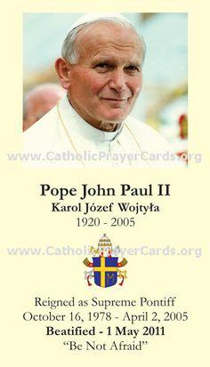 Catholic Artwork - Pope John Paul II Prayer Card, $0.20 (http://www.catholic-artwork.com/pope-john-paul-ii-prayer-card/)