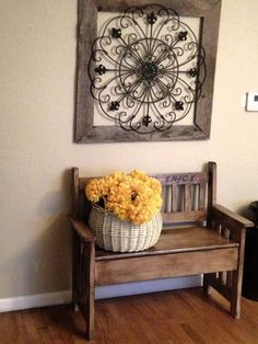 Living Room decor - rustic farmhouse style. Wall Décor - Make your own by attaching a piece of decorative wrought iron to a frame & hang!