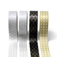 black + gold + silver washi tape