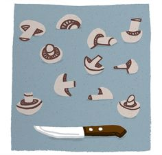 Knife & mushrooms