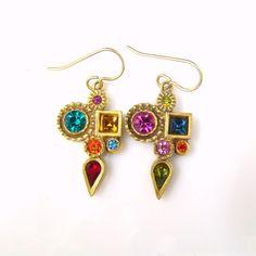 Beautiful Patricia Locke Vibrant Australian Crystal Multi-Color Pierced Earrings #PatriciaLocke #DropDangle