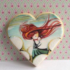Painted cookie by Matilda's cookies Fancy Cookies, Valentine Cookies, Iced Cookies, Cute Cookies, Cookies Et Biscuits, Cupcake Cookies, Sugar Cookies, Paint Cookies, Galletas Cookies