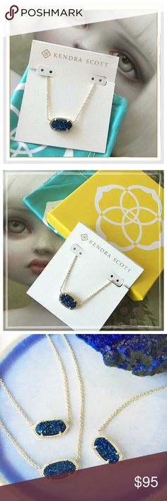 """✨Kendra Scott Elisa Blue Druzy Necklace✨ ✨Kendra Scott Elisa Blue Druzy Necklace✨Sold Out Style✨Gorgeous Piece✨14K Gold Plated Over Brass✨Size: 0.63""""L x 0.38""""W stationary pendant, 15"""" chain with 2"""" extender✨Lobster claw closure✨Material: blue druzy✨Comes With Kendra Scott Dust Bag And Gift Box✨NWT✨ Kendra Scott Jewelry Necklaces"""