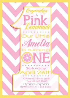 pink lemonade first birthday invitation hey i found this really awesome etsy listing at