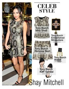 """""""Celeb Style: Shay Mitchell"""" by zhris ❤ liked on Polyvore featuring Tory Burch, women's clothing, women, female, woman, misses and juniors"""