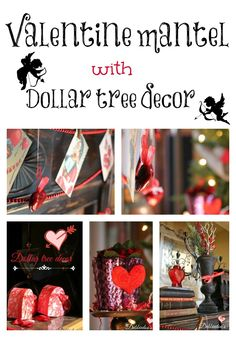 Valentine mantel with dollar tree decor