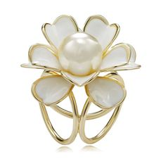 Shop for Flower Scarf Ring, OKAJewelry Flower Scarf Ring features 3 rings design Polished Silver Plated Camellia Flower Pearl Scarf Rings. Scarf Rings, Scarf Jewelry, Gold Jewelry, Jewelry Accessories, Silver Pearls, Silver Rings, White Camellia, Pearl Flower, Flower Rings
