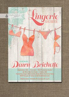 Beach Lingerie Shower Invitation Lace Pink Teal Orange Wood Shabby Chic Rustic Personal Invitation DIY Digital or Printed - Dawn Style