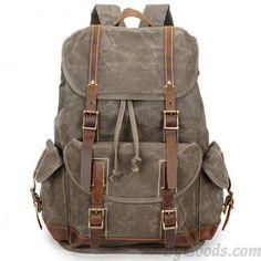 f4e1093851e3 Vintage Washing Colors Waterproof Canvas Splicing Leather Belt Drawstring  Flap Large Travel Backpack Laptop Backpack
