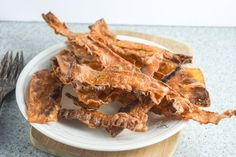 Smoky and sweet vegan rice paper bacon marinated in liquid smoke, maple syrup, and nutritional yeast for a complex flavor and satisfying crunch | yupitsvegan.com