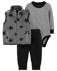 Designed for all-day play, dressing is easy with this ready-to-wear matching set. Featuring a zip-up fleece vest and easy-on pants, this 3-piece set is complete with a coordinating cotton bodysuit.