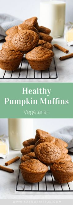 Healthy Pumpkin Muffins #muffins #pumpkin #recipes #healthy #easy #best #moist #nosugar #snack #breakfast #baking