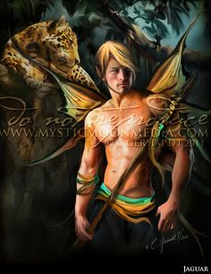 Jaguar... Warrior Fay... Men Fairy Picture Art... 5x7 Matted Print... Fantasy Art... Jaguars...Jungle...Handsome Masculine Male Fairy. $15.00, via Etsy.