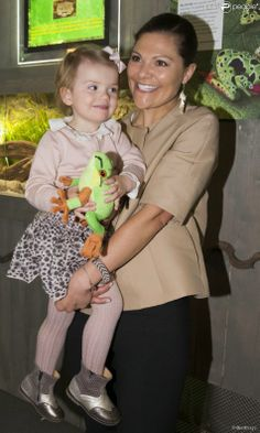 Crown Princess Victoria and Princess Estelle attended the opening of an exhibition on the world's threatened frogs and toads at the Skansen Aquarium.