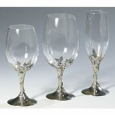 Twigs Pewter White Wine Glass . $69.95. The Twigs Pewter White Wine Glasses are beautiful white wine glasses handmade in Italy with a grapevine twigs pewter base. The Italian Pewter Twigs White Wine Glass will enhance the table of any wine lover, delighting the most discriminating tastes.