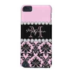 Baby Pink Cream black floral Damask diamonds iPod Touch (5th Generation) Case - monogram gifts unique design style monogrammed diy cyo customize