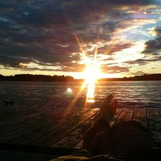 The view from the Best Western Lakeside in docks on Lake of the Woods in Kenora. Beautiful #sunset.