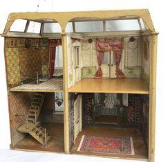 Puppenvilla-um-1880-1900-Originaltapeten-Mansardendach-verglast Antique Dollhouse, Dollhouse Dolls, Antique Dolls, Villa, Doll Houses, Jukebox, Facade, Vintage Stuff, Ebay