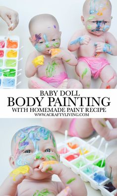Doll Body Painting with Homemade Paint Recipe! Baby Doll Body Painting - Process Art fun for Toddlers & Preschoolers! Baby Doll Body Painting - Process Art fun for Toddlers & Preschoolers! Baby Dolls For Toddlers, Art Activities For Toddlers, Infant Activities, Preschool Activities, Group Activities, Educational Activities, Toddler Class, Toddler Art, Toddler Learning