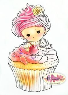 SALE Digital Stamp - Whimsical Cupcake Sprite - Sweet Baby in Frosting with Cherry - Fantasy Line Art for Cards & Crafts by Mitzi Sato-Wiuff