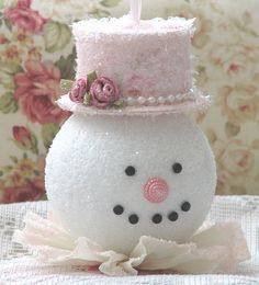 Pink Christmas Snowwoman: Pastel in pink w/pearls. I think rose colored mouth buttons would add another layer to this look.She Dreams About A Pink Christmassnowman for my shabby chic Christmas tree.is that a button nose? ♥ great for decor for a win Pink Christmas, Christmas Snowman, All Things Christmas, Winter Christmas, Christmas Holidays, Christmas Decorations, Christmas Ornaments, Christmas Mantles, Christmas Villages