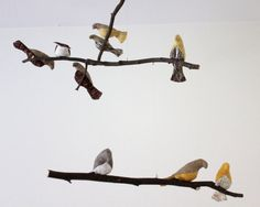 Bird Mobile  Brown / Yellow /White Fabric Birds  by SewnBuddies, $60.00
