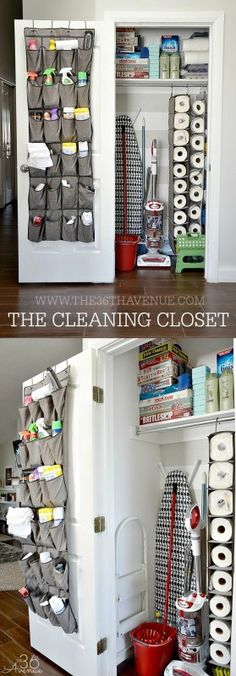 ©the36thavenue.com DO NOT COPY, SAVE, OR PASTE THIS COLLAGE IMAGE. Cleaning Tips and Organization Tips always come handy. Today I'm sharing our utility closet or what our kiddos call the cleaning closet. I love this space so much! It is super easy to find what we need for our daily chores...