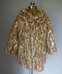 Mottled Variegated Mink Fur Swing Coat Vintage by MDMvintage