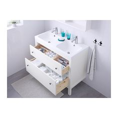 HEMNES / ODENSVIK Meuble pour lavabo, 2 tiroirs - blanc - IKEA