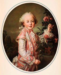 1937 Tipped-In Print Portrait Comte de Nogent Francois-Hubert Drouais Child XAF6