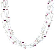 Valero Pearls Classic Collection Damen-Kette Hochwertige Süßwasser-Zuchtperlen in ca.  6 mm Oval weiß 925 Sterling Silber   Swarovski Elements rosé / pink / weiß 43 cm + 5 cm Verlängerung   400531 - http://schmuckhaus.online/valero-pearls-12/valero-pearls-classic-collection-damen-kette-in-6-6