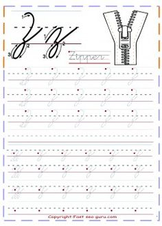 print out cursive handwriting tracing worksheets letter z for Zipper…