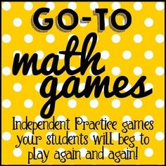 FREE math games that will change your life!  These games totally changed how I do Independent Practice in my class!