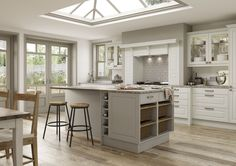 Mereway Kitchens, Town & Country- Newbury Cashmere and Ivory. Clutter free and light helping you achieve your Hygge feeling.