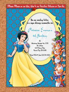 PRINTABLE INVITATION, Snow White and the Seven Dwarfs, Princess Snow White Birthday Invite (5x7)