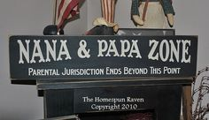 Items similar to Nana and Papa Zone Primitive Handpainted Wood Sign Plaque grandparents on Etsy Grandma And Grandpa, Grandparent Gifts, Grandparents Day, Diy Signs, Funny Signs, Sign Quotes, True Quotes, Found Out, Wooden Signs