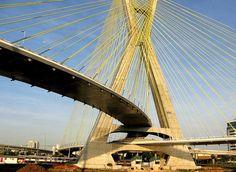 Octávio Frias de Oliveira Bridge - São Paulo, Brazil Ing Civil, Civil Engineering Projects, Cable Stayed Bridge, Santa Ana, Golden Gate Bridge, South America, Architecture, City, World