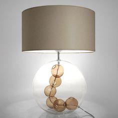 Lampe à poser en verre transparent avec bulles de verre et abat jour diamètre 38 cm Necklace