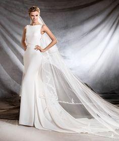 OLIANA - Vestido de noiva com decote em barco e estilo sereia